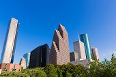 Houston skyline North blue sky at Texas USA US