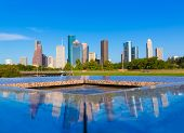 picture of reflection  - Houston skyline and Memorial reflection Texas USA US - JPG