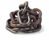 Pile Of Rusty Metal Chain On White Background