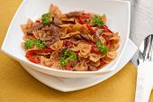Farfalle with vegetable and beef