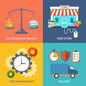 Set Of Flat Design Concept Icons For Business. Knowledge Is Wealth, Web Store, Time Management And D