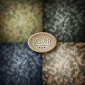 Military Camouflage Backgrounds (jungle, Woodland, Blueberries, Desert Storm), Vector Illustrations