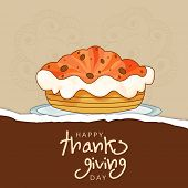 Thanksgiving Day celebration with cake and stylish text on brown background.