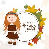 Creative Happy Thanksgiving Day celebrations concept with cute little tribe girl on maple leaves decorated background.