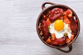 Eggs With Chorizo, Potatoes And Tomatoes In A Pot. Top View