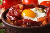 Baked Eggs With Chorizo And Vegetables On The Spanish Recipe