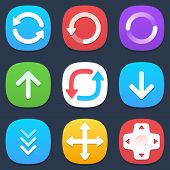 Set of arrows mobile icons in flat design