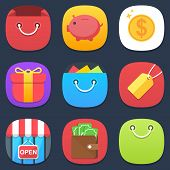 Set of shop mobile icons in flat design