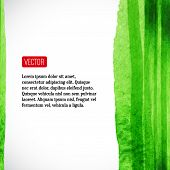 Vector  watercolor background with red label. Vector illustratio