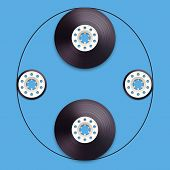 A vector illustration of a recordable bobbin of tape cassette. Letter O