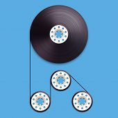 A vector illustration of a recordable bobbin of tape cassette. Letter R