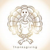 Floral decorated shiny turkey bird with stylish text for Thanksgiving Day celebration.