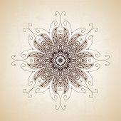 Vintage vector circle floral ornamental border. Lace pattern des