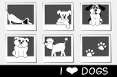 collection of photos with cartoon dogs
