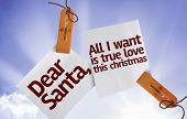 Dear Santa, All I Want is True Love This Christmas on Paper Note on sky background