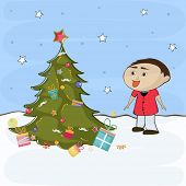 Merry Christmas celebration concept with decorative X-mas tree and cute little boy on winter nature background.