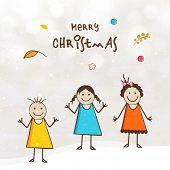 stock photo of merry chrismas  - Cute little girls enjoying on occasion of Merry Christmas festival - JPG