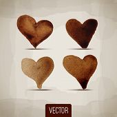 Set of abstract vector hearts. Design elements. Retro background
