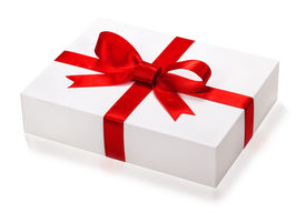 picture of box-end  - Single  gift box with red ribbon end e bow on white background - JPG
