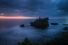 image of tanah  - Tanah Lot temple in sunset. the most important indu temple of Bali Indonesia. ** Note: Visible grain at 100%, best at smaller sizes - JPG