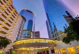 pic of nightfall  - Houston Downtown sunset modern skyscrapers at Texas US USA - JPG