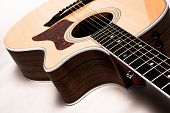 pic of bluegrass  - Closeup of a guitar on a white background - JPG