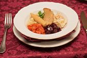 stock photo of lenten  - vegetable salad with bread at plate - JPG
