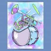 image of wind instrument  - Poster with wind instruments trumpet - JPG