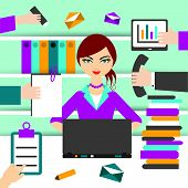 picture of secretary  - Work office illustration - JPG
