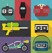 Постер, плакат: A set of eighties and nineties items
