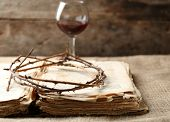 image of crown-of-thorns  - Crown of thorns and bible on old wooden background - JPG