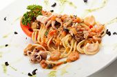 picture of spaghetti  - Spaghetti with Seafood and Tomato - JPG