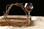 foto of crown-of-thorns  - Crown of thorns and bible on black background - JPG