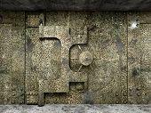 foto of vault  - 3d image of huge rusty vault - JPG