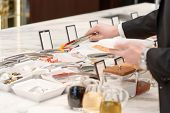 foto of buffet  - Sauces and vegetable appetizers at the business buffet - JPG