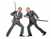 foto of swords  - Two men figthing with the sword isolated on white - JPG
