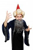 stock photo of wizard  - Funny wise wizard isolated on the white - JPG