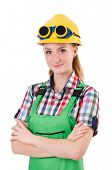 stock photo of overalls  - Female handyman in overalls isolated on white - JPG