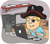 stock photo of illegal  - Illustration of a Man Wearing a Pirate Hat Illegal Downloading Files from the Internet - JPG