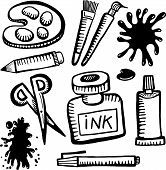 stock photo of arts crafts  - A set of hand drawn black and white doodles of various art and craft related objects - JPG