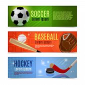 pic of bandy stick  - Sport banner flat horizontal set with soccer baseball hockey accessories isolated vector illustration - JPG