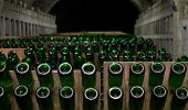 foto of wine cellar  - Rows of champagne bottles in wine cellar. This is an aging of wine.