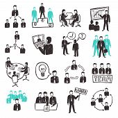 stock photo of tribunal  - Teamwork icons set with sketch business people discussion organization and partnership scenes isolated vector illustration - JPG