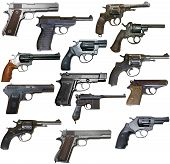 pic of xx  - Set of isolated vintage personal firearms of XX century on white - JPG
