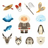 stock photo of north-pole  - Chukchi and north animals decorative icons set with husky deer bear dog isolated vector illustration - JPG