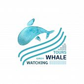 stock photo of whale-tail  - Stylized image of a watercolor whale for your gesign - JPG