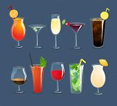 picture of decorative  - Alcohol drinks and cocktails in glasses decorative icons set isolated vector illustration - JPG