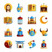 stock photo of christianity  - Religion icon set with christian islamic and oriental symbols isolated vector illustration - JPG