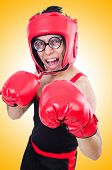 stock photo of boxers  - Funny boxer isolated on the white background - JPG