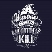 stock photo of emblem  - Mountain themed outdoors emblem logo  - JPG